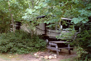A large RV visits Nottely River Campground