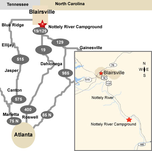 Nottely River Campground Maps And Directions - Georgia map traffic